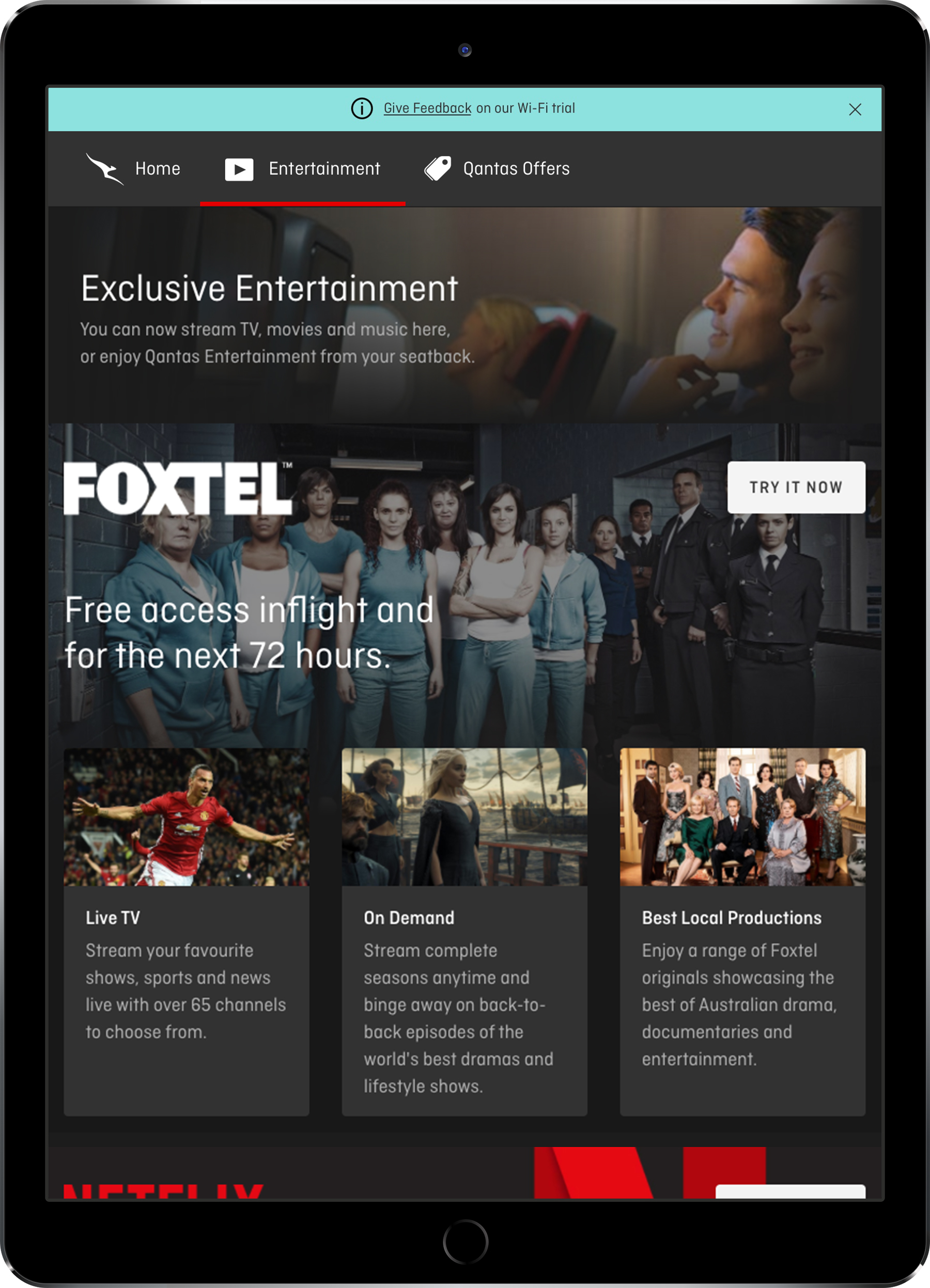 QF WIFI - entertainment page