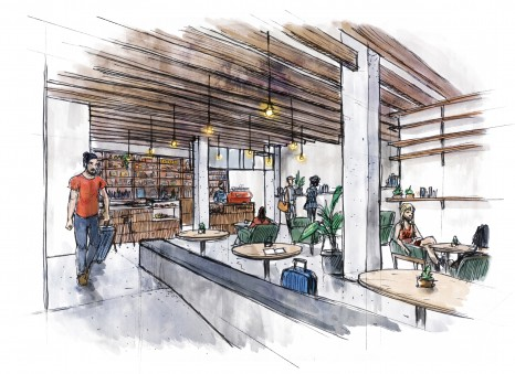 Artist's impression of Lobby at Veriu Broadway