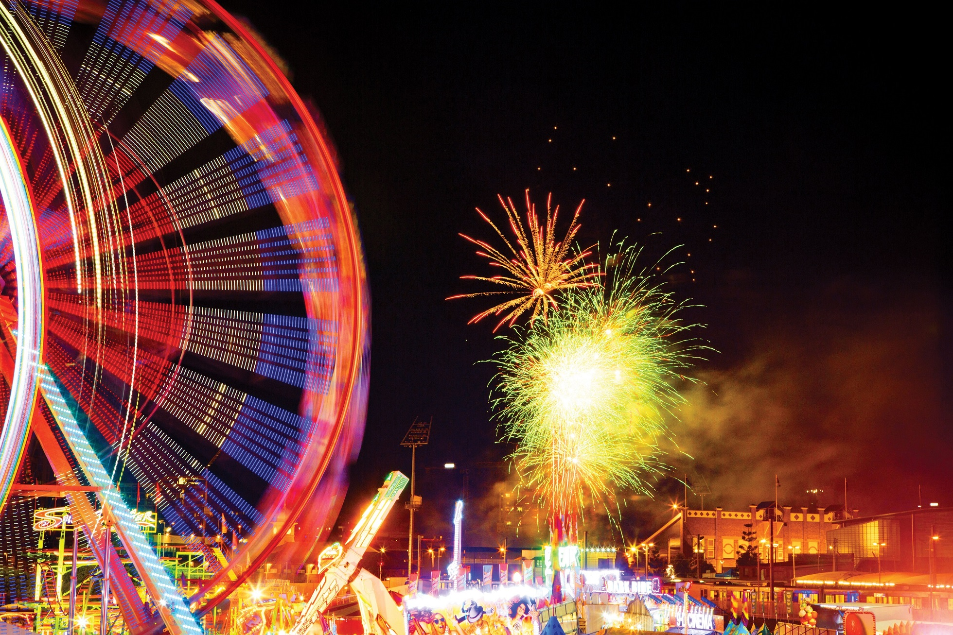 Ekka Sideshow Alley and fireworks